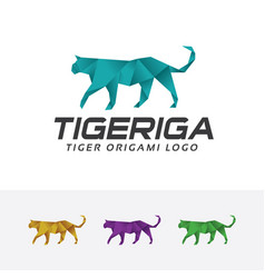 Tiger origami logo vector