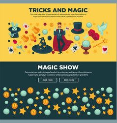 tricks and magic show promotional internet posters vector image