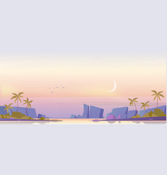tropical landscape with sea bay and moon in sky vector image