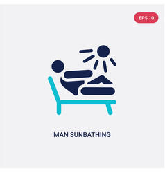 two color man sunbathing icon from behavior vector image