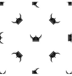 viking helmet pattern seamless black vector image