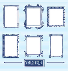 Vintage frame hand drawing elements vector
