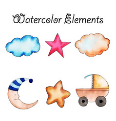 Watercolor elements collection vector