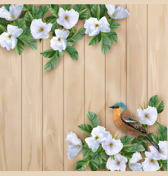 White flowers and bird vector