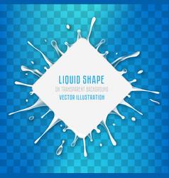 white liquid rhombus banner with splash drops vector image