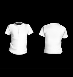 White t-shirt template front and back on a black vector