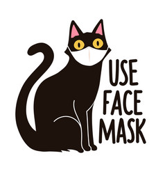 with black cat in white medical face mask use vector image