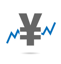 yen and stock exchange chart in background vector image