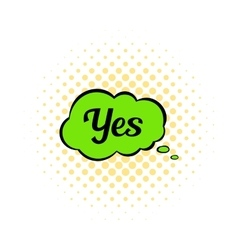 Yes in cloud icon comics style vector image vector image