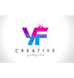 yf y f letter logo with shattered broken blue vector image