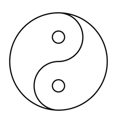Yin Yang symbol black outline vector image