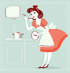 young housewife in retro fashion dress cooking vector image