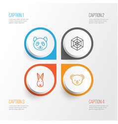Animal icons set collection of marsupial bunny vector