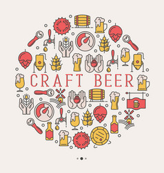 craft beer concept with thin line icons in circle vector image