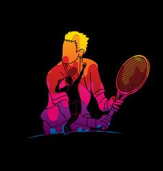 double exposure tennis player sport man action vector image