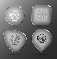 Globe and recycling symbol Glass buttons vector image