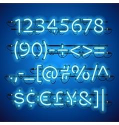 Glowing Neon Blue Numbers vector image vector image