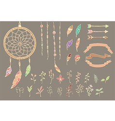 Hand drawn native american feathers dream catcher vector image vector image