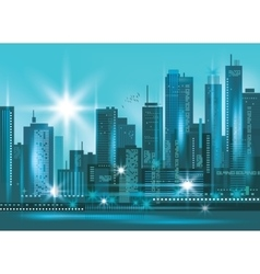 Modern night city skyline at night vector image vector image