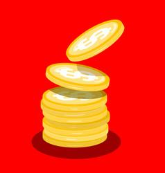 money coins heap flat design cartoon vector image vector image