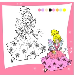 Cartoon fairy coloring page - for vector image vector image