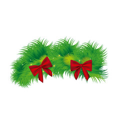 christmas wreath with red bow icon vector image