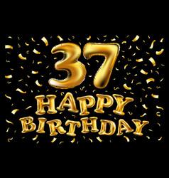 golden number 37 thirty seven metallic balloon vector image vector image