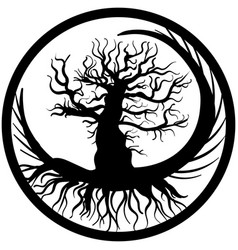 hand drawn old bare tree crooked branches and root vector image