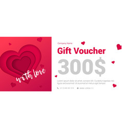 modern gift certificate with a heart for the vector image vector image