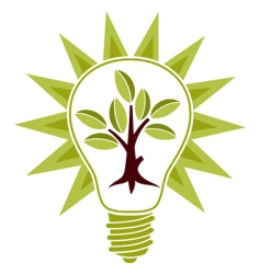 tree and light bulb vector image vector image