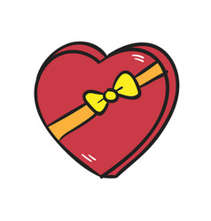 big red heart with a bow on white background vector image vector image