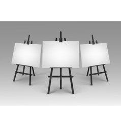 Black Wooden Easels with Mock Up Canvases Isolated vector image