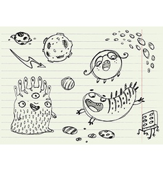 Collection of Cartoon Doodle Monsters 3 vector image vector image