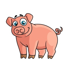 Cute pink piggy in cartoon style vector