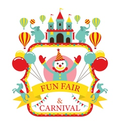 Fun fair carnival circus label vector