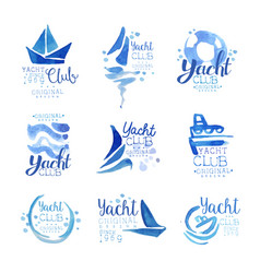 yacht club since 1969 logo original design set vector image vector image