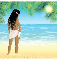 Young woman stands on the beach at sunset time vector image