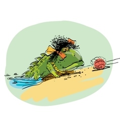 Amphibian crawling out of the water onto dry land vector image