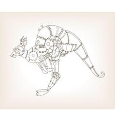 Ancient draft of mechanical kangaroo vector