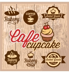 bakery and cafe design elements vector image vector image