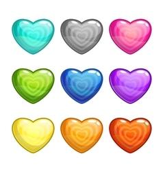 Cartoon colorful glossy hearts set vector image
