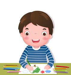Cute boy drawing with colorful pencils vector image vector image
