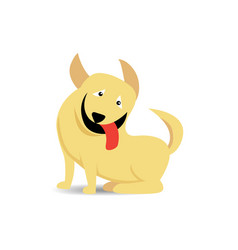funny sitting yellow dog stick out red tongue on vector image