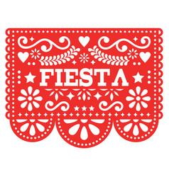 Mexican fiesta papel picado design in red vector