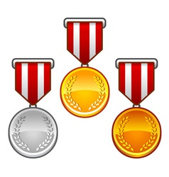 Military medals with laurel vector image vector image