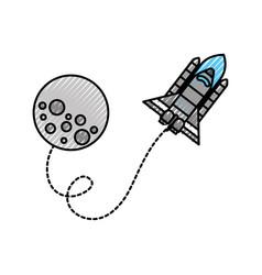 moon rocket space astronomy universe science vector image vector image
