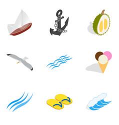 Sea breeze icons set isometric style vector