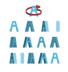 sheet of sprites rotation of cartoon 3d letter a vector image vector image