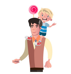 son sits on his father s back vector image