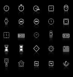 Time line icons with reflect on black background vector image